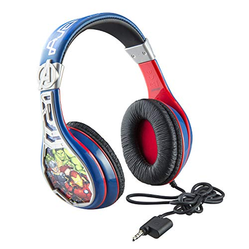 eKids Avengers Assemble Kids Headphones, Adjustable Headband, Stereo Sound, 3.5Mm Jack, Wired Headphones for Kids, Tangle-Free, Volume Control, Childrens Headphones Over Ear for School Home, Travel