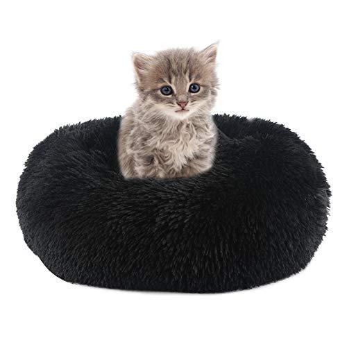 Vanansa Cama redonda para perros y gatos, con forma de donut de peluche, para dormir dulce, para sus animales pequeños, color negro, 40 cm