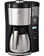 Melitta 1025-18 Look V Timer filterkoffiezetapparaat met thermokan en timerfunctie, 1080, afneembaar waterreservoir en ontkalkingsprogramma, 1,25 liter, zwart