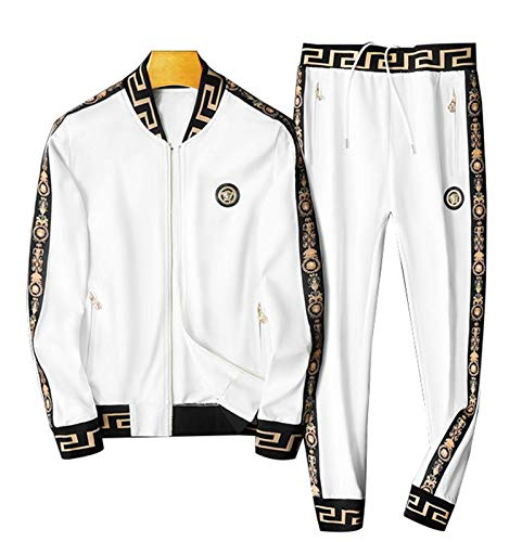 Hombre Sport Jacket Pantalones Traje Trajes Trajes Superiores Sweatpants Gym Manga Larga Trajes de Sudor Soporte Collar Deporte Fondos Set White-XXXXL