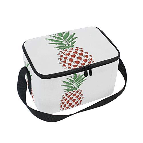 Ahomy Sac à déjeuner en Toile Motif Ananas tropicaux et cœurs