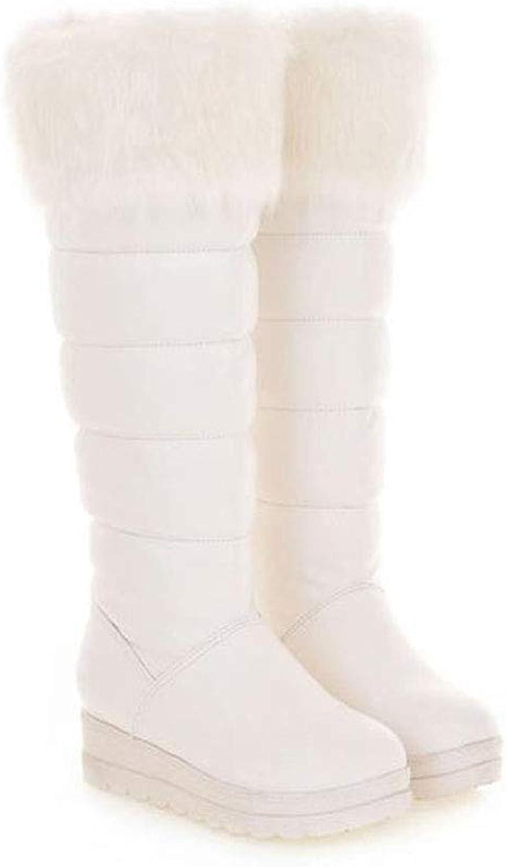 EQEQ Keep Warm Snow Boots Sponge Cake Wedge Casual Boots Fur Collar High Boots