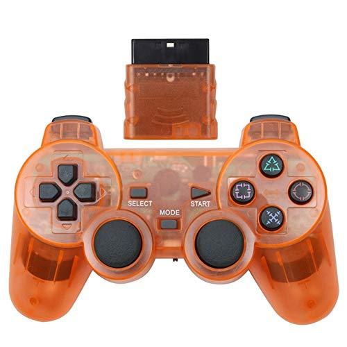 ZZYLHS Manette De Jeu sans Fil for Console De Contrôle PS2 Manette De Jeu Double Choc De Vibration Joypad Commande sans Fil (Color : Orange)