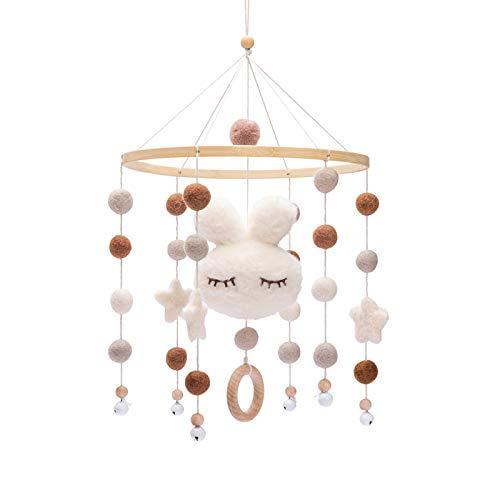 Mamimami Home, 1 pieza, campanas de cuna para bebé, cuna móvil para bebé, campana para cama móvil, cuna de madera para bebé, decoración para niño y niña (Conejito blanco)