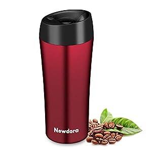 Newdora Termo Café, Vaso Termico Cafe de 380ml con Tapa, Botella Acero Inoxidable Agua para Viajes Oficina en casa Escuela Trabajos Camping (Rosso)