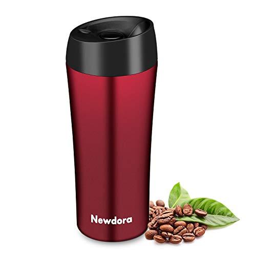 Newdora Thermobecher - 380ml Kaffeebecher to go, Edelstahl Isolierbecher, Reisebecher, BPA-Frei, hält 5h heiß/ 9h kalt, 100% dicht, auslaufsicher, Easy Quick-Press-Verschluss, Schwarz, Rot