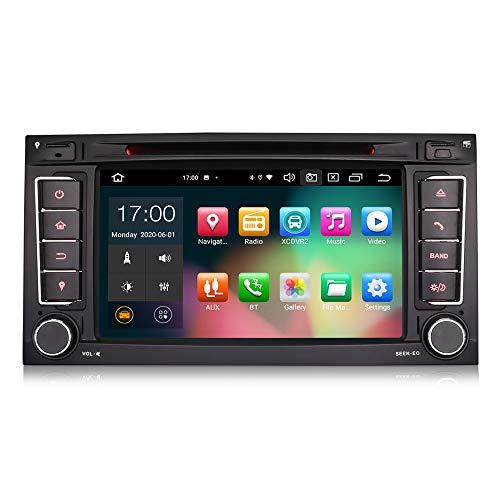 Erisin 7 Zoll Android 10.0 Autoradio Für VW Touareg T5 Multivan Halterung GPS Navi Carplay Android Auto Dsp Bluetooth Wifi DAB+ TPMS 8-Core 4 GB RAM+64 GB ROM