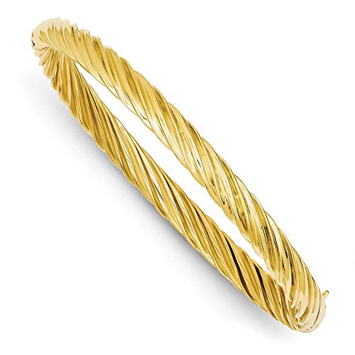 14k Yellow Gold 6.35mm Textured Hinged Bangle Bracelet Cuff Expandable Stackable 7 Inch Fine Jewellery For Women Gifts For Her