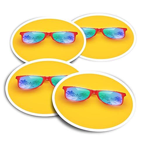 Pegatinas de vinilo (juego de 2) 10 cm – Gafas tropicales de sol festivas divertidas calcomanías para ordenadores portátiles, tabletas, equipaje, reserva de chatarra #21381