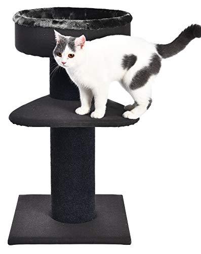 Amazon Basics – Katzen-Kratzbaum mit zwei Ebenen und hochwertigem Bett mit festem Rand, 48 x 48 x 86 cm, schwarz