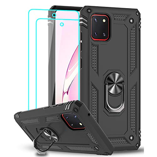 LeYi für Samsung Galaxy Note 10 Lite/A81 Hülle mit Panzerglas Schutzfolie(2 Stück),360 Grad Ring Halter Handy Hüllen Cover Bumper Schutzhülle für Hülle Samsung Galaxy A81 Handyhülle Schwarz