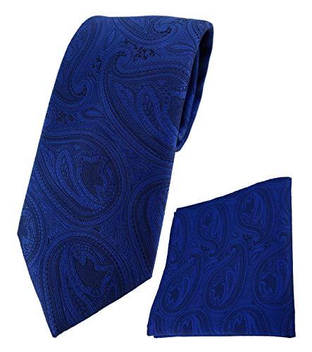 TigerTie Designer Krawatte Designer Einstecktuch in royal blau schwarz Paisley gemustert