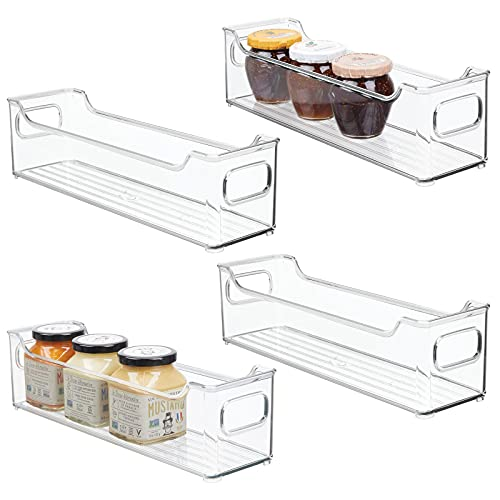 mDesign Slim Stackable Plastic Storage Organization Bin with Handles for Kitchen Cabinet, Pantry, Shelf, Refrigerator, Home Organizer for Fruit, Potatoes, Onions, Drinks, Snacks, Pasta, 4 Pack, Clear