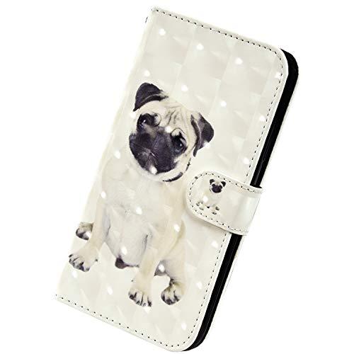 Herbests Kompatibel mit Samsung Galaxy A50 Handyhülle Hülle Flip Case Glänzend Glitzer Bling 3D Muster Leder Schutzhülle Klappbar Bookstyle Brieftasche Ledertasche mit Magnet,Tier Hund