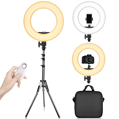 LED Ring Light with 2M Stand for Phone and Camera, Travor 14 inches Outer 45W 5500K/3200K Dimmable w/Filters Carrying Bag for YouTube Vlog Makeup Studio Video Shooting Salon Photography