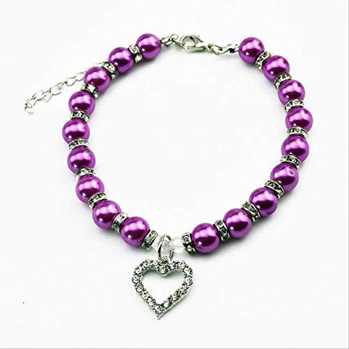 Collar De Gato Collar De Perlas De Fiesta Collar De Mascota Collar De Perro Collar De Perro para Cachorro Accesorios para Perros Púrpura-M