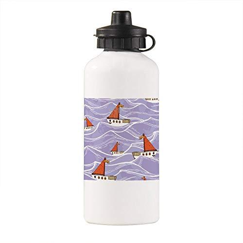 Botella de agua aislada divertida, bote de ondas, botella de agua deportiva aislada con mosquetón clip de 400 ml