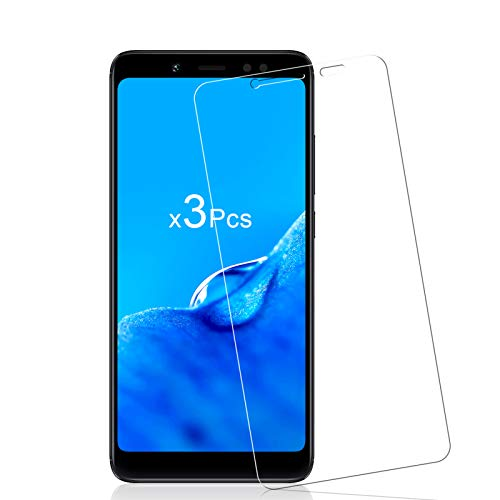 Cristal Templado para Xiaomi Redmi Note 5, 9H Dureza Vidrio Templado, Protector de Pantalla, [3 Piezas] Sin Burbujas, Anti-Rasguños, Anti-Dactilares HD Vidrio Templado para Redmi Note 5 - Transparente