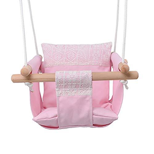 SHARESUN Baby opknoping stoel schommel, canvas gevoerde ademende comfortabele rugleuning schommelstoel houten, voor 6 maanden - 3 jaar oude kinderen, outdoor indoor camping reizen balkon tuin veranda