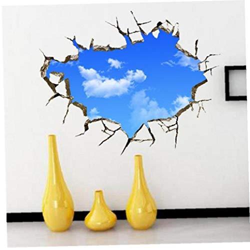 Angoter White Clouds Sky 3D Wall Sticker pour Les Enfants Chambres Plafond Toit Stickers muraux Home Décor autoadhésifs Sol Art Mural Poster