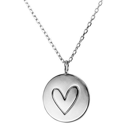 JO & JUDY Herz Halskette Silber - Romantischer Motiv-Anhänger aus 925 Sterlingsilber an 46 cm 925 Sterlingsilber Kette - Accessoire Schmuck