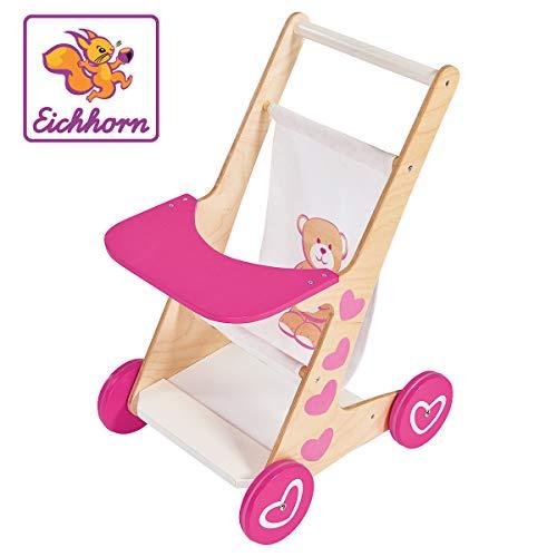 Eichhorn 100002596 EH Puppenwagen-100002596 Puppenwagen mit Sitzfläche aus Stoff, geeignet für Puppen von 35-49 cm, unmontiert, aus Holz, 34 x 27 x 49 cm groß, ab 2 Jahren