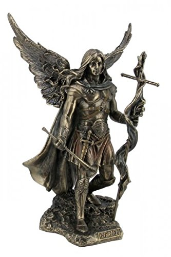 Arcángel Santo Gabriel con Cruz y trompeta Bronce Figura Escultura Esoterik Ángel