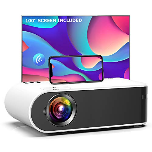 Mini Projector, GooDee W18 WiFi Movie Projector with Synchronize Smartphone Screen with 1080P Support and 200'' Video Projector Support TV Stick, HDMI, VGA, USB, Laptop, PS4, and iOS/Android Phone
