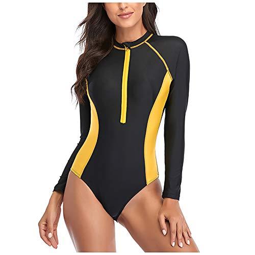 FEANO Traje de baño de una pieza para mujer, de entrenamiento atlético, buceo, surf, trajes de baño de manga larga, de patchwork, para mujer