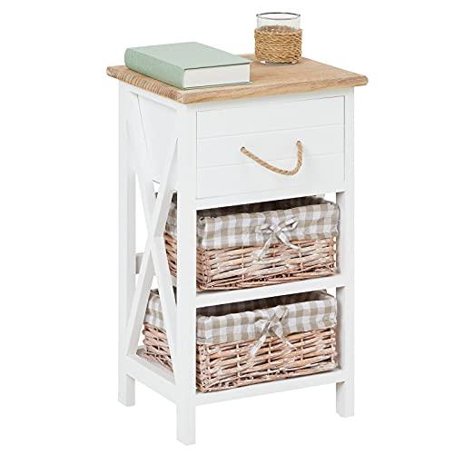 CARO-Möbel Nachttisch Nachtschrank Nachtkommode Perugia in weiß, Shabby Chic Vintage Look, mit Schublade und 2 Körben