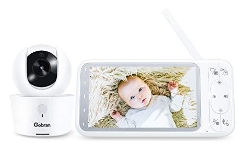 Babyphone Kamera 5 Zoll 1080P HD Bildschirm IPS 360° Drehung 4 Erweiterbare Kameras,Gobran Videoüberwachung Baby Monitor,VOX Sprachaktivierung,Zwei-Wege-Audio,Nachtsicht,Schlaflieder,Temperatursensor