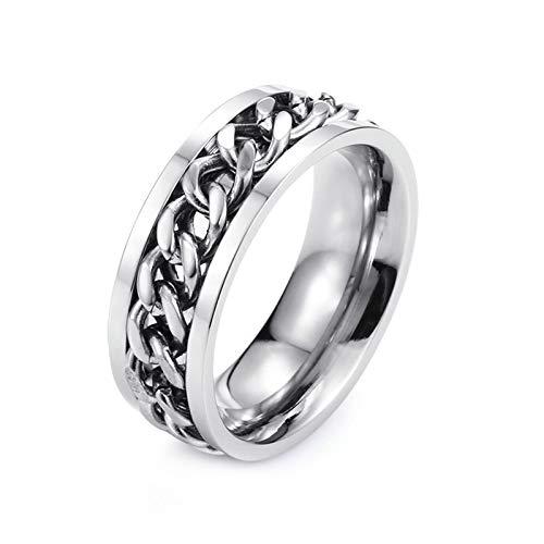 ANAZOZ Ring Herren Ring Herren Kettenblatt Herren Silber Edelstahl Bandring Siegelring Größe 56 (17.8)