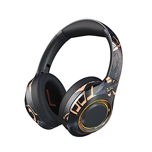 Inalámbrica Auriculares para Juegos, Bluetooth 5.1 Sobre Oreja Cascos Hi-Fi Stereo Desmontable Cancelación de Ruido Mic Dual Llamadas Manos Libres 30h Playtime, para PC/Teléfono/TV Box(Color:Negro)