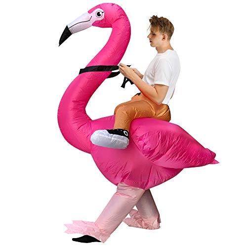 RHYTHMARTS Flamingo Inflatable Costume Christmas Halloween Costumes Blow up Cosplay Party Costume for Adult