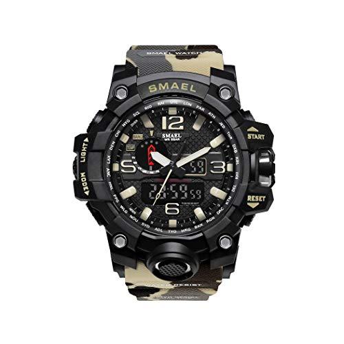 Hombre Relojes, L'ananas Al Aire Libre Deportes Multifuncional Camuflaje Militar LED Relojes de Pulsera Men Watches (Caqui)