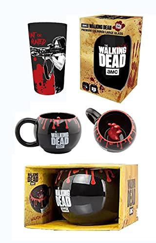 AMC The Walking Dead Geschenkset aus Glas und Tasse, Zombie-Handbecher und Daryl-Glas, in Geschenkverpackung
