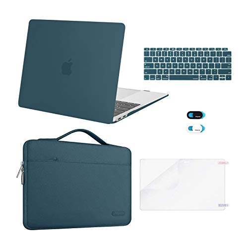 MOSISO MacBook Air 13 inch Case 2020 2019 2018 Release A2337 M1 A2179 A1932,Plastic Hard Case&Bag&Keyboard Skin&Webcam Cover&Screen Protector Compatible with MacBook Air 13 inch Retina, Deep Teal