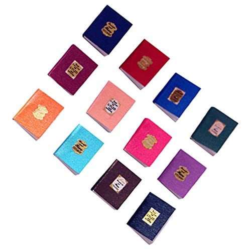 Tomaibaby Mini Cuaderno Vintage 12 Piezas Mini Cuadernos de Colores Preciosos Libro Niños Casa de Muñecas Casa de Juguete Miniatura Accesorios Casa Foto Estudio Accesorios