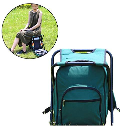 Gycdwjh Multifunktionsklappstuhl Picknicktasche, mit Isolierung und Kühlung Picknickrucksäcke Multifunktionaler Wasserdicht Picknickhocker für den Außenbereich Picknick,Grün