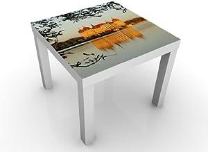 INDIGOS UG Diseño Mesa Candado Moritz Burg No. 155x 45x 55cm, Schwarzer Tisch, SPIEGELVERKEHRT