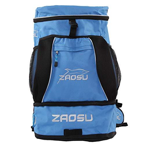 ZAOSU Sac à dos de triathlon et de natation - 45 litres - Avec compartiment humide pour vêtements de natation après la compétition ou l'entraînement - Couleur : bleu fluo