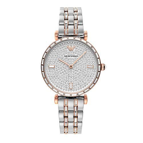 Emporio Armani - Reloj Analógico de Cuarzo con Correa de Acero Inoxidable en Tono Plateado y Dorado Rosa para Mujer AR11293