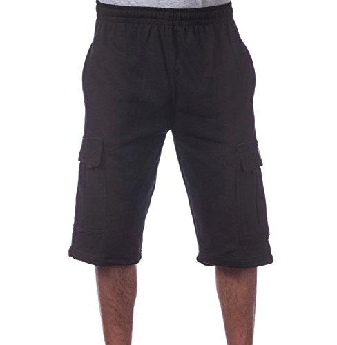 Pro Club Mens Fleece Cargo Shorts Black M