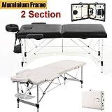 Höhenverstellbar Leicht Aluminium-Füßen Massagebank 2 Zone Massageliege Klappbar Kosmetikliege Massagetisch mit einer Tragetasche bis 230kg belastbar - Beige