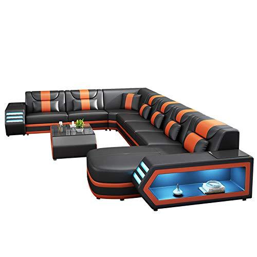 Winpavo Sofá Conjunto De Sofás Sofá De La Esquina Sofá Modular Muebles De Sala Sofá De Esquina De Cuero Conjunto Sofá con Luz Led-Si
