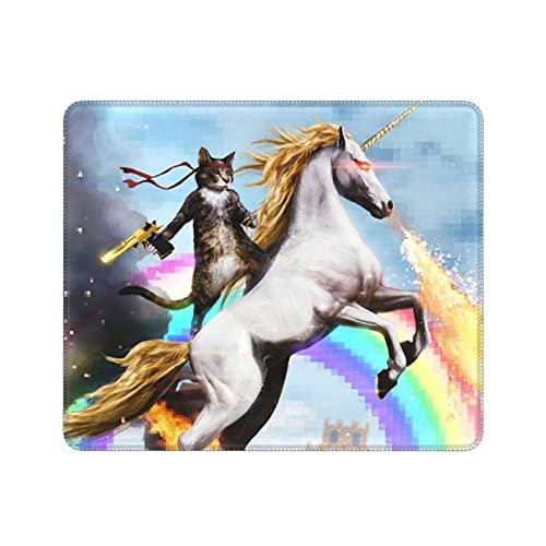 Cat Unicorn Mouse Pad Funny Cat Dressed As Rambo with Gun Riding A Glowing Red Eyes Fire Breathing Unicorn Mouse Pads Cute Cats Non-Slip Rubber Mousepad 7.9 X 9.5 Inch