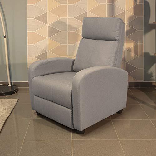 Homely Sillón Relax Shine con Sistema de Relax Manual tapizado Tela Gris Piedra