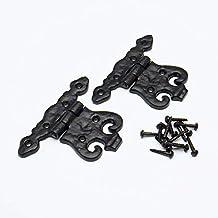4 x Zwart Antieke Decoratieve Fancy Scharnieren Zwart Staal + Schroeven 84 x 110mm