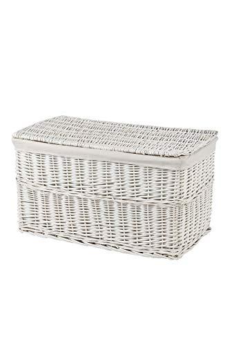 VIVANNO Elegante Truhe Wäschetruhe Korb aus Vollweide, Lea, 80 cm, Weiß