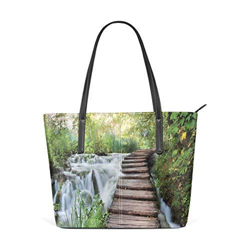 NR Multicolour Fashion Damen Handtaschen Schulterbeutel Umhängetaschen Damentaschen,Naturstrom im grünen Dschungel-Druck